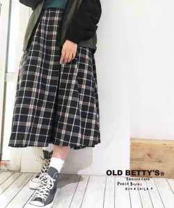 Flannel Check Volume Long Skirt